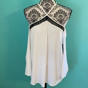 NWT Guess Los Angeles Cold Shoulder High Neck Top